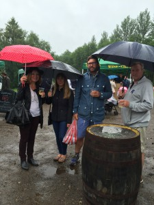 Beddingfield family enjoying a Biddenden cider in the rain